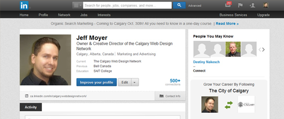 Jeff Moyer LinkedIn Proflie - Calgary Web Design Network